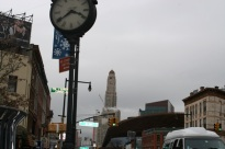 Looking down Flatbush Avenue toward Manhattan, you can see the Williamsburgh Savings Bank Tower. It tells time.