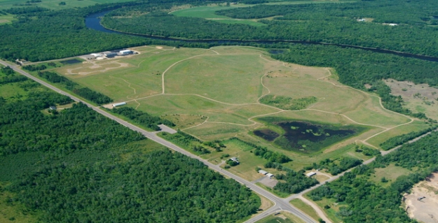 Wisconsin Department of Natural Resources aerial photo of Flambeau Mine, after reclamation.